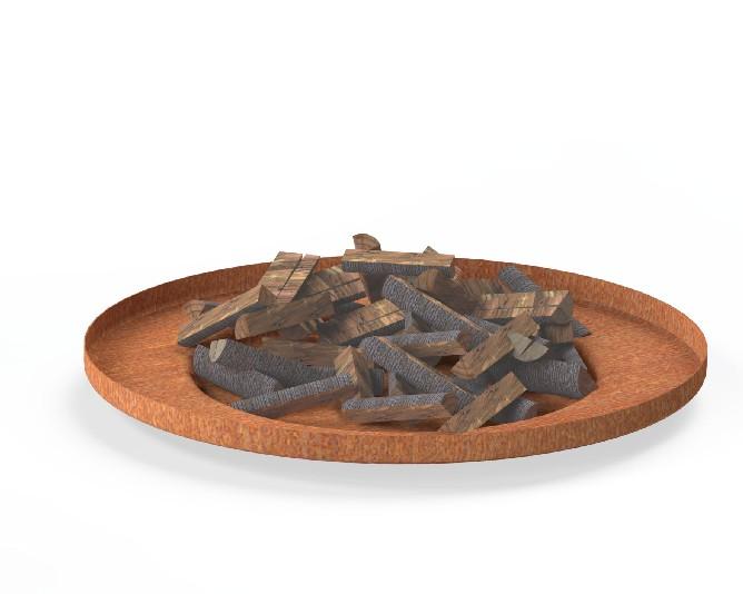 Burni verwarming Burni vuurschaal Borc, diam. 90 cm, hoogte 10 cm, 3-4 mm cortenstaal