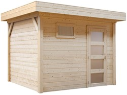 Blokhut Bosuil, afm. 300 x 300 cm, plat dak, houtdikte 28 mm, blank vuren