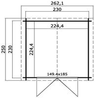 Blokhut Brilmansdennen, buitenmaat 250 x 250 cm, funderingsmaat 230 x 230 cm, zadeldak, houtdikte 28 mm, blank vuren-2