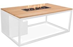 Cosi Fires loungetafel/vuurtafel Cosiloft white/teak, afm. 120 x 80 x 47 cm