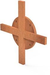 Burni Bunke koppelstuk kruis 14x14 cm corten