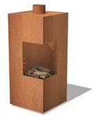 Burni terrashaard Arvid, afm. 50 x 50 x 100 cm, staand model, 3 mm cortenstaal