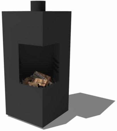 Burni terrashaard Arvid, afm. 50 x 50 x 100 cm, staand model, 3 mm cortenstaal, zwart gecoat