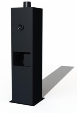 Burni terrashaard Borr, afm.  50 x 50 x 200 cm, 3 mm cortenstaal, zwart gecoat