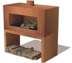 Burni terrashaard Enok,  afm. 100 x  50 x 100 cm, staand model, 3 mm cortenstaal