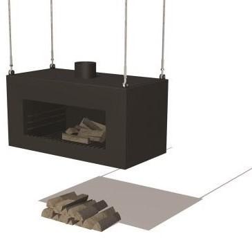 Burni terrashaard Enok, afm. 100 x 50 x 50 cm, vrijhangend, 3 mm cortenstaal, zwart gecoat