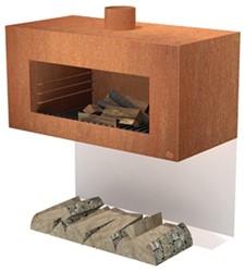 Burni terrashaard Enok, afm. 100 x 50 x 50 cm, wandmodel, 3 mm cortenstaal