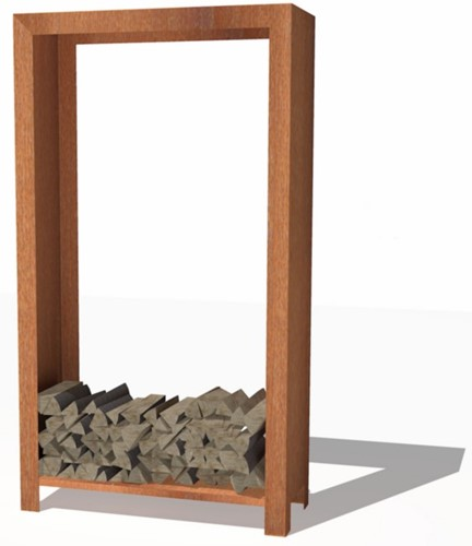 Burni houtopslag, afm. 100 x 40 x 180 cm, 3 mm cortenstaal
