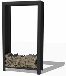 Burni houtopslag, afm. 100 x 40 x 180 cm, 3 mm cortenstaal, zwart gecoat