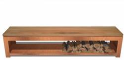 Burni houtopslag/zitbank, afm. 200 x 40 x 43 cm, 3 mm cortenstaal