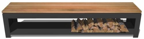 Burni houtopslag/zitbank, afm 200 x 40 x 43 cm, 3 mm cortenstaal, zwart gecoat