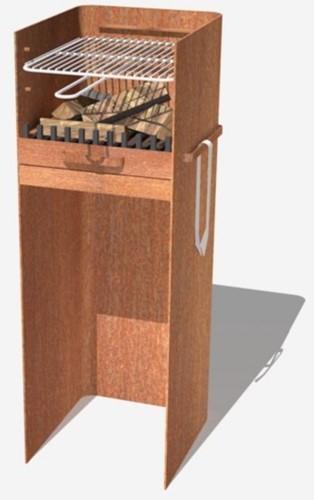 Burni terrashaard Skipp, afm.  41 x 46 x 100 cm, 3 mm cortenstaal