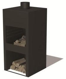 Burni terrashaard Stig, afm.  50 x 50 x 100 cm, 3 mm cortenstaal, zwart gecoat