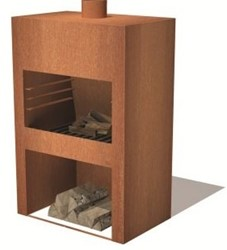 Burni terrashaard Stig, afm.  85 x 50 x 120 cm, 3 mm cortenstaal