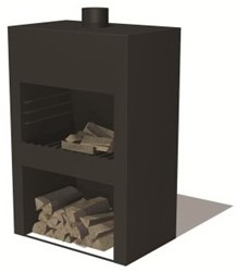 Burni terrashaard Stig, afm.  85 x 50 x 120 cm, 3 mm cortenstaal, zwart gecoat