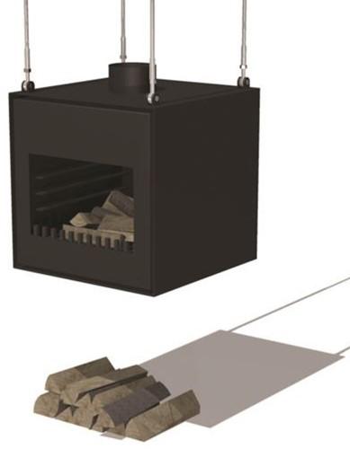Burni terrashaard Thor, afm.  55 x 50 x 55 cm, vrijhangend, 3 mm cortenstaal, zwart gecoat