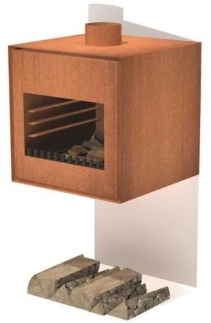 Burni terrashaard Thor, afm.  55 x 50 x 55 cm, wandmodel, 3 mm cortenstaal