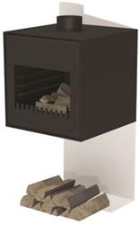 Burni terrashaard Thor, afm.  55 x 50 x 55 cm, wandmodel, 3 mm cortenstaal, zwart gecoat