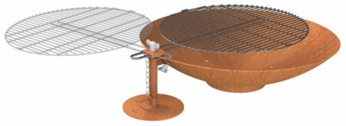 Burni vuurschaal met grillrooster, diam. 80 cm, hoogte 21 cm, 3-4 mm cortenstaal