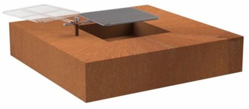 Burni vuurtafel met grillrooster, afm. 120 x 120 cm, hoogte 28 cm, 3 mm cortenstaal
