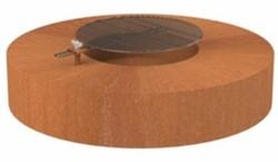 Burni vuurtafel met grillrooster, diam. 125 cm, hoogte 28 cm, 3 mm cortenstaal