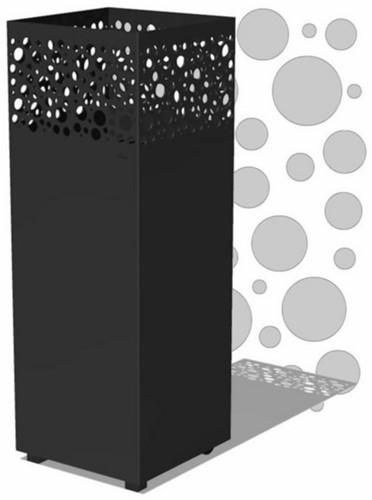 Burni vuurzuil Arkin, afm. 40 x 40 x 100 cm, 3 mm cortenstaal, zwart gecoat