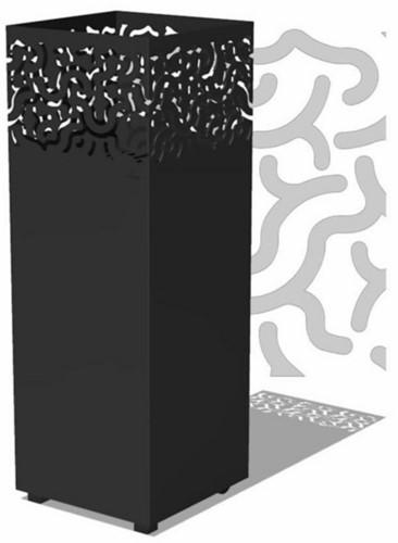 Burni vuurzuil Jari, afm.  40 x 40 x 100 cm, 3 mm cortenstaal, zwart gecoat