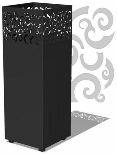Burni vuurzuil Tyr, afm.  40 x 40 x 100 cm, 3 mm cortenstaal, zwart gecoat