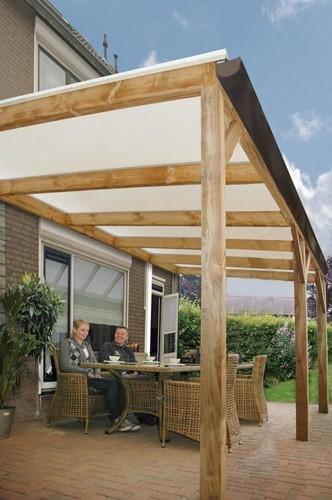 Butterfly veranda, afm. 300 (b) x 400 (d) cm, opaal dakplaat, geïmpregneerd vuren-2