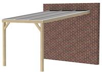 Butterfly veranda, afm. 300 (b) x 400 (d) cm, heldere dakplaat, geïmpregneerd vuren-1