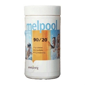 Melpool 90/20 chloortabletten voor spa, langzaam oplossend, voor desinfectie, 1 kg