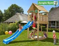 Jungle Gym speeltoren Jungle Cabin, montagekit inclusief glijbaan en houtpakket op maat gezaagd