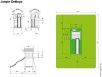Jungle Gym speeltoren Jungle Cottage, montagekit inclusief glijbaan en houtpakket op maat gezaagd-2