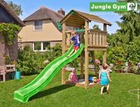 Jungle Gym speeltoren Jungle Cottage, montagekit inclusief glijbaan en houtpakket op maat gezaagd