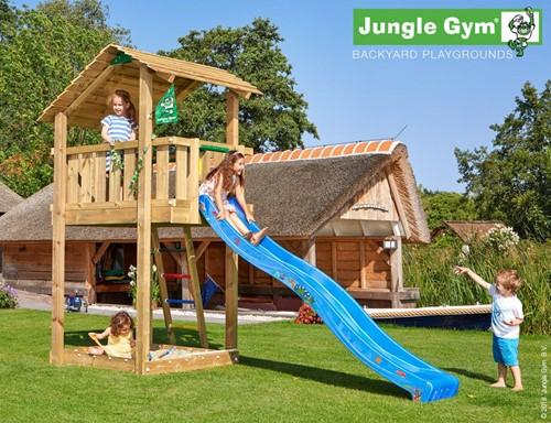 Jungle Gym speeltoren Jungle Shelter, montagekit inclusief glijbaan en houtpakket, niet op maat gezaagd
