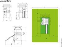 Jungle Gym speeltoren Jungle Barn, montagekit inclusief glijbaan en houtpakket, niet op maat gezaagd -2