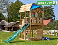 Jungle Gym speeltoren Jungle Barn, montagekit inclusief glijbaan en houtpakket, niet op maat gezaagd