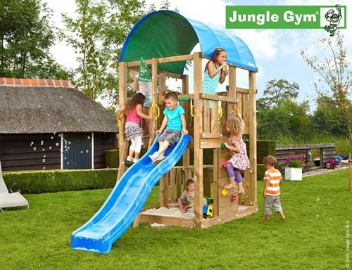 Jungle Gym speeltoren Jungle Farm, montagekit inclusief glijbaan en houtpakket op maat gezaagd