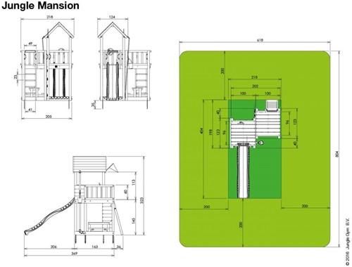 Jungle Gym speeltoren Jungle Mansion, montagekit inclusief glijbaan en houtpakket, niet op maat gezaagd