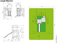 Jungle Gym speeltoren Jungle Mansion, montagekit inclusief glijbaan en houtpakket op maat gezaagd-2