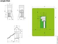 Jungle Gym speeltoren Jungle Club, montagekit inclusief glijbaan en houtpakket op maat gezaagd