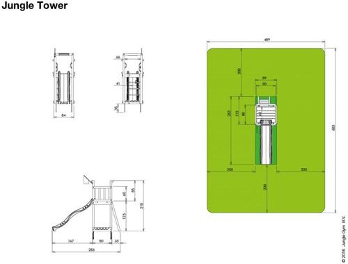 Jungle Gym speeltoren Jungle Tower, montagekit inclusief glijbaan en houtpakket op maat gezaagd-2