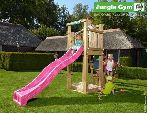 Jungle Gym speeltoren Jungle Tower, montagekit inclusief glijbaan en houtpakket op maat gezaagd