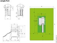 Jungle Gym speeltoren Jungle Fort, montagekit inclusief glijbaan en houtpakket op maat gemaakt-2