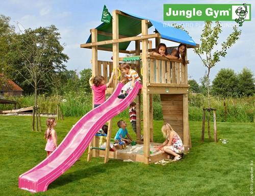 Jungle Gym speeltoren Jungle Fort, montagekit inclusief glijbaan en houtpakket, niet op maat gezaagd.
