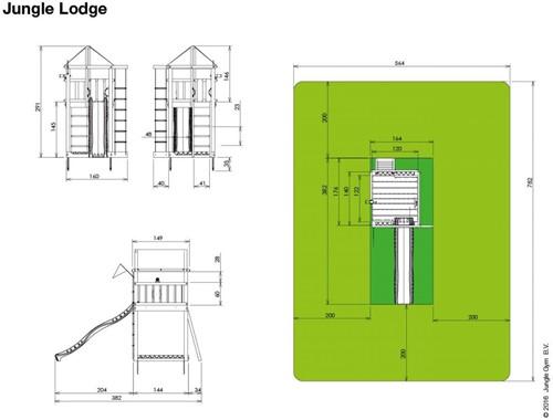 Jungle Gym speeltoren Jungle Lodge, montagekit inclusief glijbaan en houtpakket, niet op maat gezaagd-2