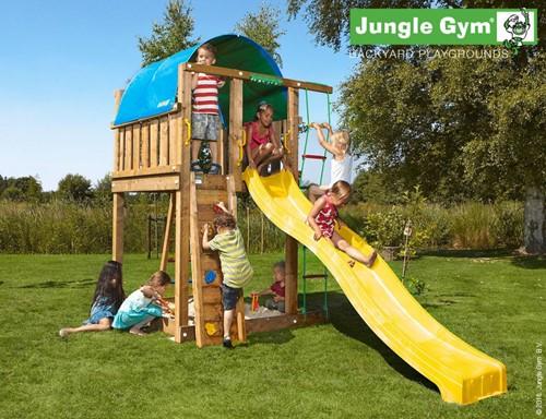 Jungle Gym speeltoren Jungle Villa, montagekit inclusief glijbaan en houtpakket, niet op maat gezaagd