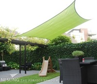Nesling Coolfit schaduwdoek, vierkant, afmeting 5 x 5 m, lime groen-2
