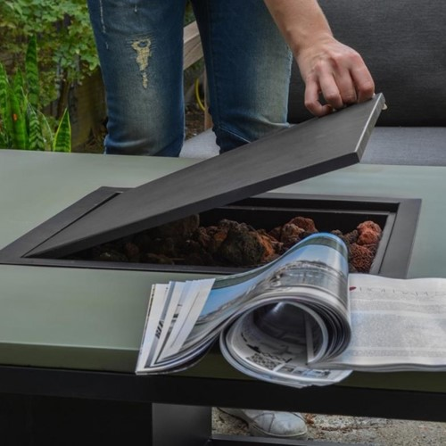 Cosi Fires loungetafel/vuurtafel Cosiloft black/teak, afm. 100 x 100 x 47 cm-3