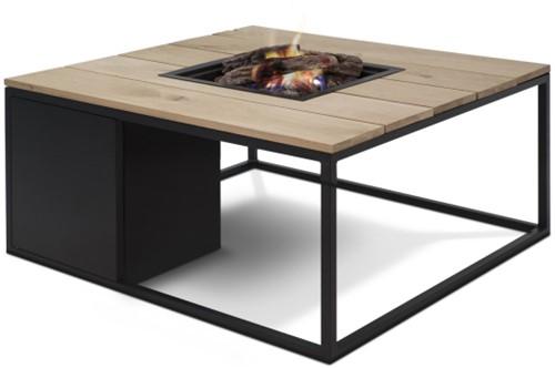 Cosi Fires loungetafel/vuurtafel Cosiloft black/teak, afm. 100 x 100 x 47 cm